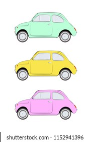 Three cars on white background. Green, yellow and pink little retro color cars.
