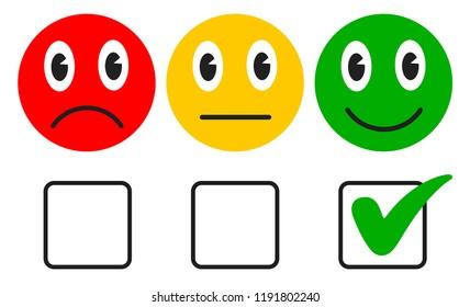 Three cartoon emoticons with check mark - stock vector