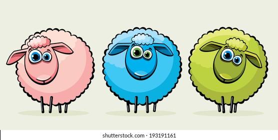 Three cartoon funny sheep with big blue eyes.