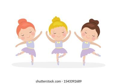 Three cartoon girls ballerinas dance. Ballet dancer schoolgirl. Caucasian preschooler girls characters isolated on white background. Flat vector illustration