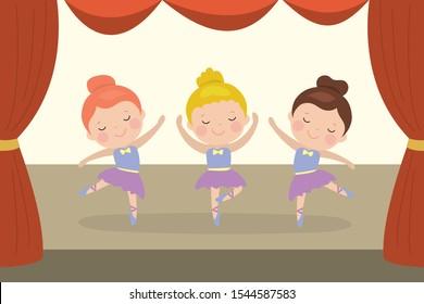 Three cartoon girls ballerinas dance on stage. Ballet dancer schoolgirl. Caucasian preschooler kids characters in a dance school. Flat vector illustration