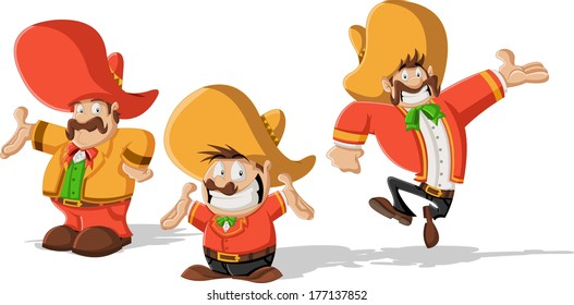 Three cartoon mexican mariachis with sombrero