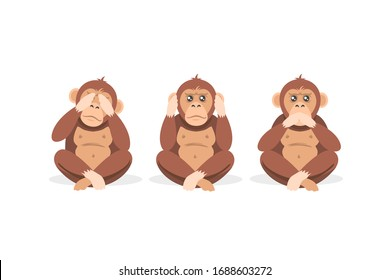 Three cartoon monkey sitting with closed eyes, mouth and ears isolated on white background. Colorful blind, deaf and mute wild animal vector graphic illustration. Concept of no see, hear, speak evil