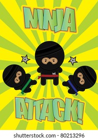 "Three cartoon ninjas on a bright ""Ninja Attack!"" poster"