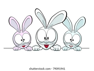 Three cartoon rabbit