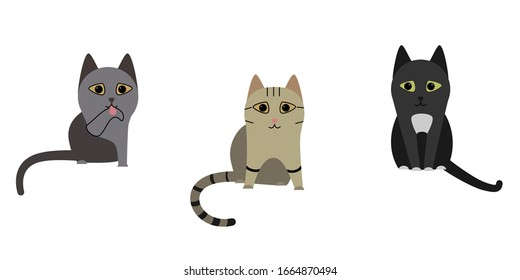 Three cats in different poses. Black, gray and striped cat. Vector illustration on a white isolated background.