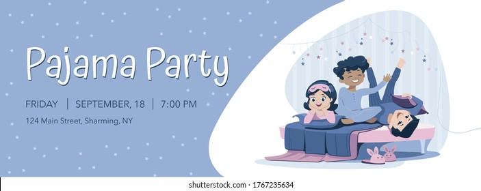 Three cheerful kids of diverse races in blue nightwear lie on the bed, having pajama party. Sleepover and slumber party horizontal banner template.
