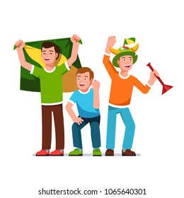Three cheering football fans and supporters with flags horns hat and trumpet. Fans group celebrating goal holding flag making clenched fist victory gesture. Flat isolated vector character illustration