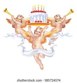Three cherub on the birthday cake on a white background