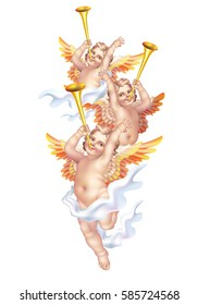 Three cherub trumpeting fanfare in on a white background