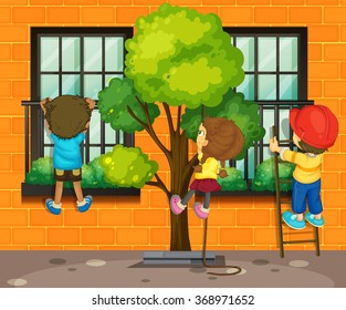 Three children climbing up the window illustration