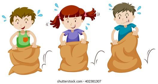 Three children jumping in sacks illustration