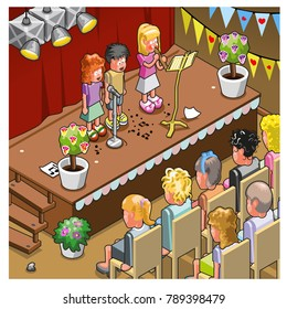 Three children making live music on stage during a school perfomance (isometric vector)