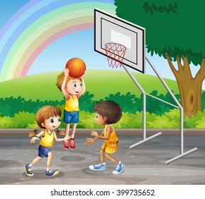 Three children playing basketball at the court illustration