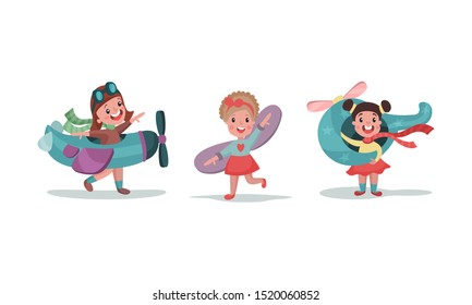 Three Children playing With Big Toy Models Of Airplane, Helicopter And Wings Vector Illustrations Set