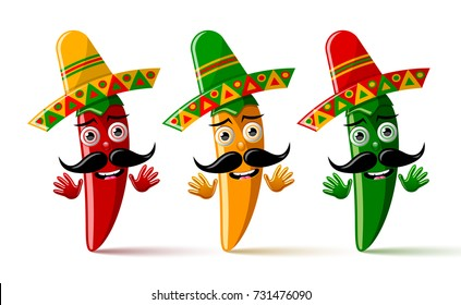 Three chilli pepper characters with sombrero hat on white background