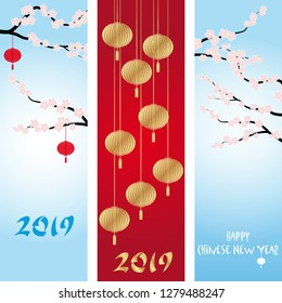 Three Chinese New Year banners vector collections