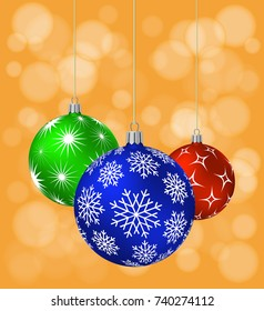 Three Christmas Balls with different patterns on orange background. Vector illustration.