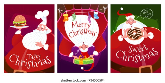 Three Christmas cards with Santa Claus. With a burger, with a donut and Santa in the fireplace with a gift. Vector illustration.
