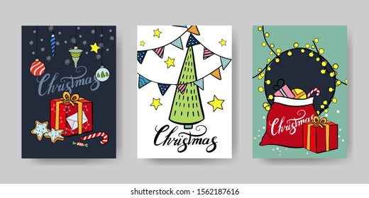 Three Christmas cards whithe gray background. Box, Lollipop, cookies, Christmas toys, Christmas tree stars and flags, Santa bag, gifts, and black greeting lettering