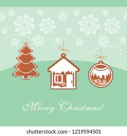 Three Christmas gingerbread. Vintage postcard. Vector