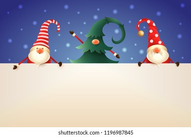Three Christmas Gnomes with board on blue background. One hidden in Christmas tree