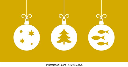 Three Christmas hanging balls ornaments on golden background.