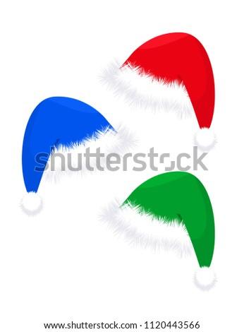 a026c089b01b4 Three Christmas Hats Red Blue Green Stock Vector (Royalty Free ...