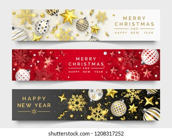 Three Christmas horizontal banners with shining snowflakes, ribbons, stars and colorful balls. New year and Christmas card illustration on light and dark background