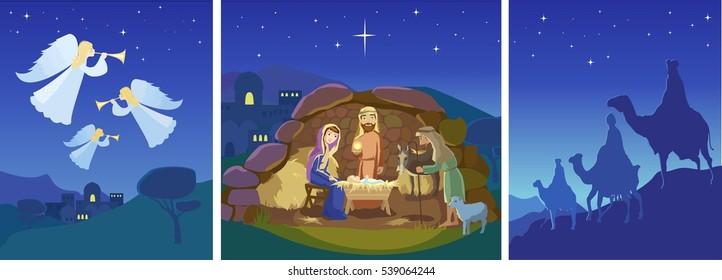 Three christmas scenes. Vector