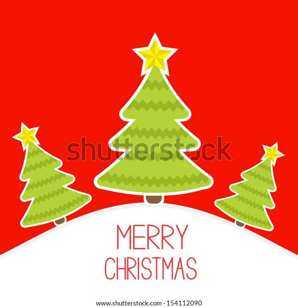 Three Christmas trees a snowy hill.  Merry Christmas card. Vector illustration.