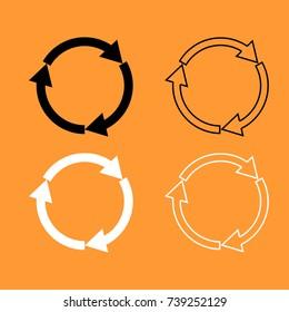 Three circle arrows black and white set icon .