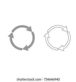 Three circle arrows grey set icon .