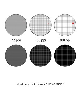 Three circles with blue squares grid. Dots per inch illustration or pixel per inch wallpaper. One pixel in different resolution