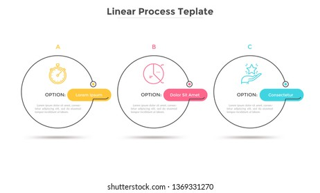 Three circles placed in horizontal row. Concept of strategic development plan with 3 successive steps or stages. Minimal infographic design template. Linear vector illustration for presentation.