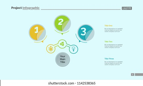 Three circles process chart slide template. Business data. Structure, point, design. Concept for infographic, presentation, report. Can be used for topics like marketing, recruitment, production