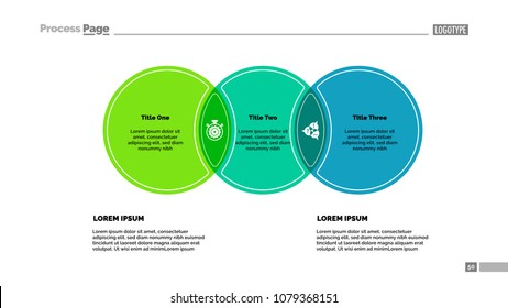 Three circles process chart template. Business data. Abstract elements of diagram, graphic. Promotion, idea, analitics, training or marketing creative concept for infographic, project.