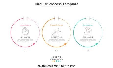 Three circular elements with arrows arranged in horizontal row. Concept of 3 cyclic stages of business process. Simple infographic design template. Flat vector illustration for progress diagram.