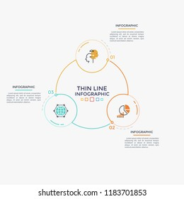 Three circular elements with linear pictograms and numbers inside connected into ring-like diagram. Cyclical process visualization. Minimal infographic design template. Modern vector illustration.