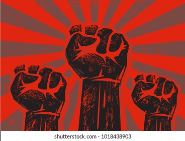 Three clenched fists raised in protest on grunge background with sun rays.  Retro style poster. Protest, strength, freedom,  revolution, rebel, revolt concept. Black and red vector illustration.