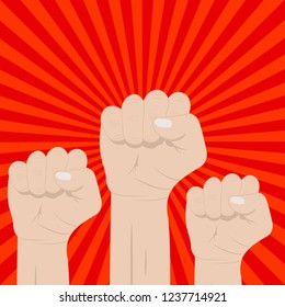 Three clenched fists raised in protest. Retro style poster. Protest, strength, freedom, revolution, rebel, revolt concept. Vector illustration isolated on red grunge background with sun rays.