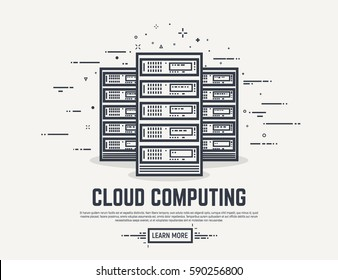 Three cloud servers. Thick lines and flat style illustration. Server with display and abstract lines.