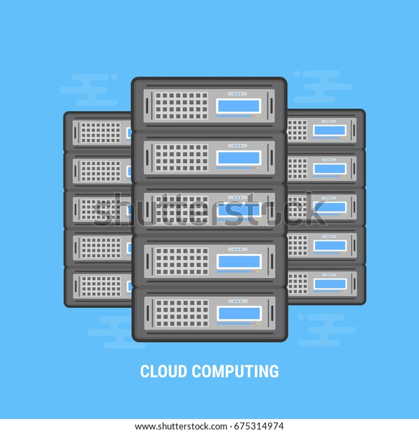 Three Cloud Servers Thick Lines Flat Stock Vector (Royalty Free