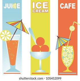 three cocktails with umbrella straws of different fruits and ice cream