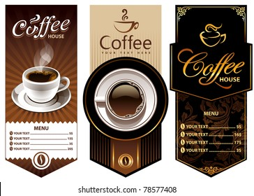 Three coffee design templates. Vector banners. All elements are grouped.