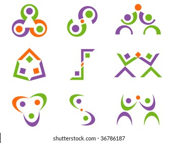 Three Color Business Person Related Abstract Vector Design Elements