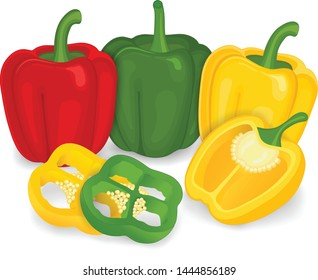Three Color capsicum (bell pepper) vector illustration on white background
