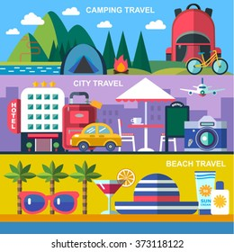 three color flat  style vector banners for summer travel