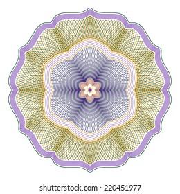 Three Color Guilloche Rosette Vector Illustration