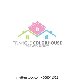 Three Color House Logo Template, Home Icon